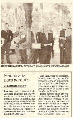 Destoconadora adquirida por el Ayuntamiento de Almeria
